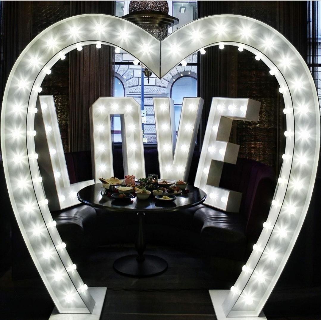 Large Love Heart Arch and Love Light up Letters for a Restaurant Promotion in Manchester.jpg