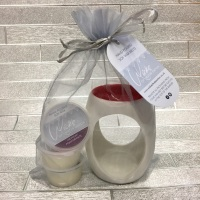 Red Topped Small Wax Burner & 3 Soy Wax Melts Gift Set
