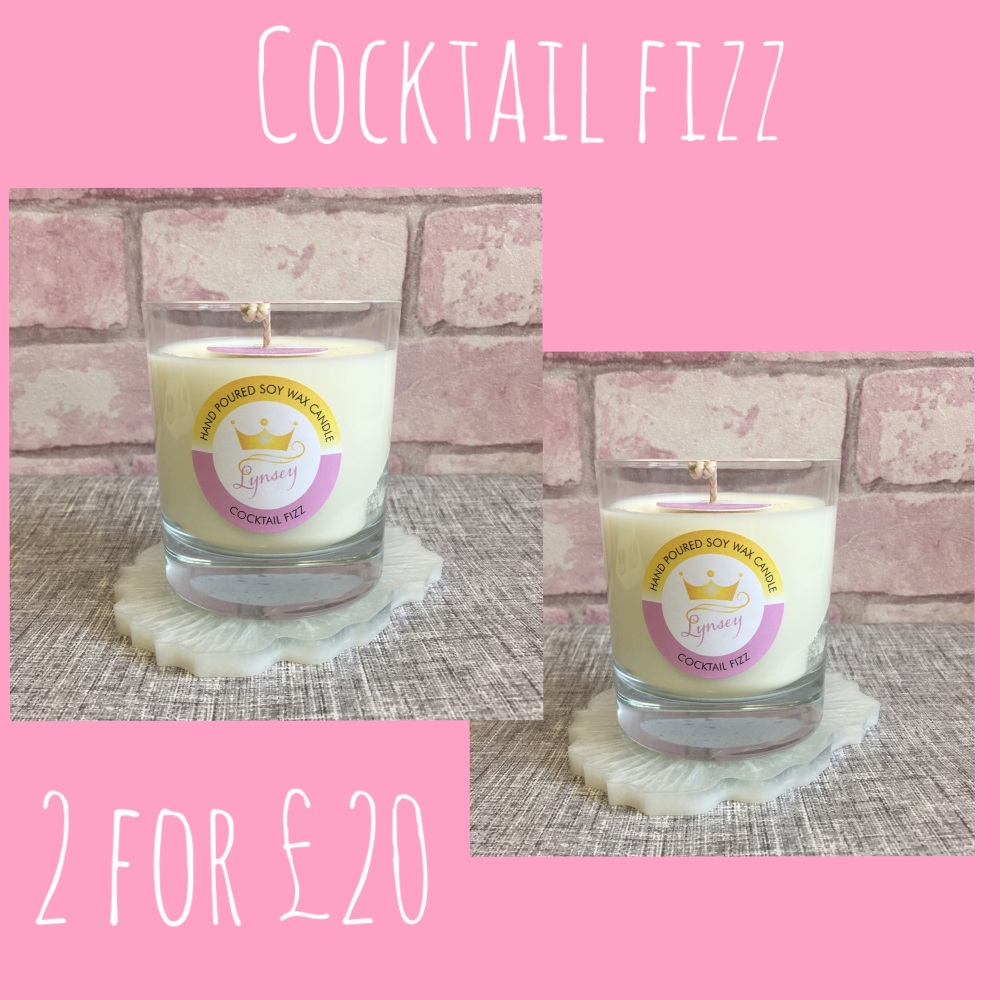 2 for £20 | Lynsey Queen Of Clean | 2 x COCKTAIL FIZZ | 2 x Natural Soy Candles 200g each ***PRE ORDER***