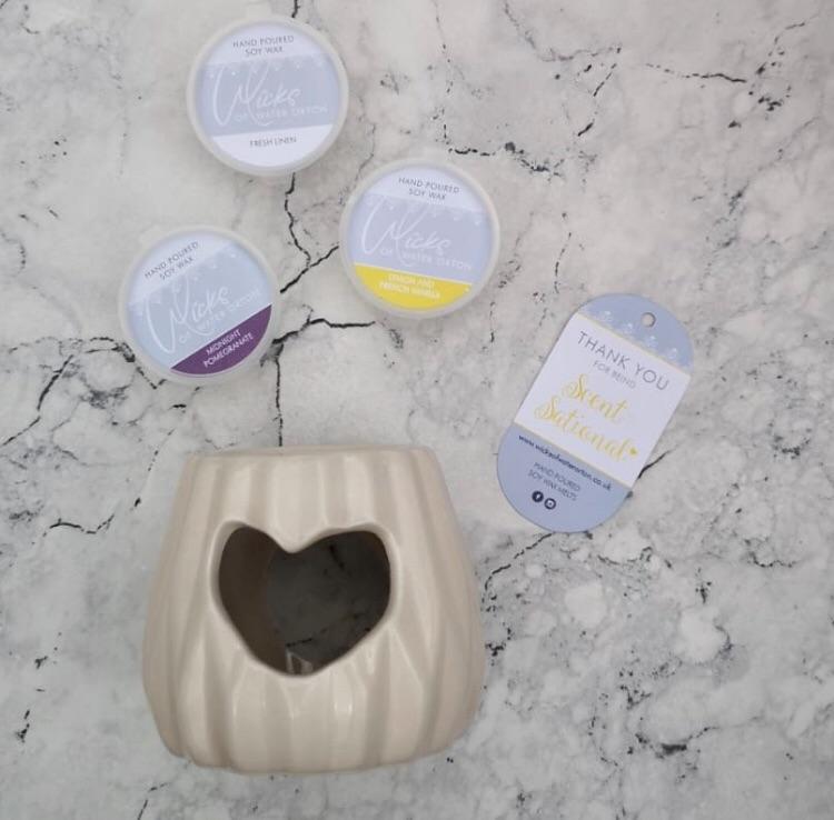 Mauve Heart Small Wax Burner & 3 Soy Wax Melts Gift Set