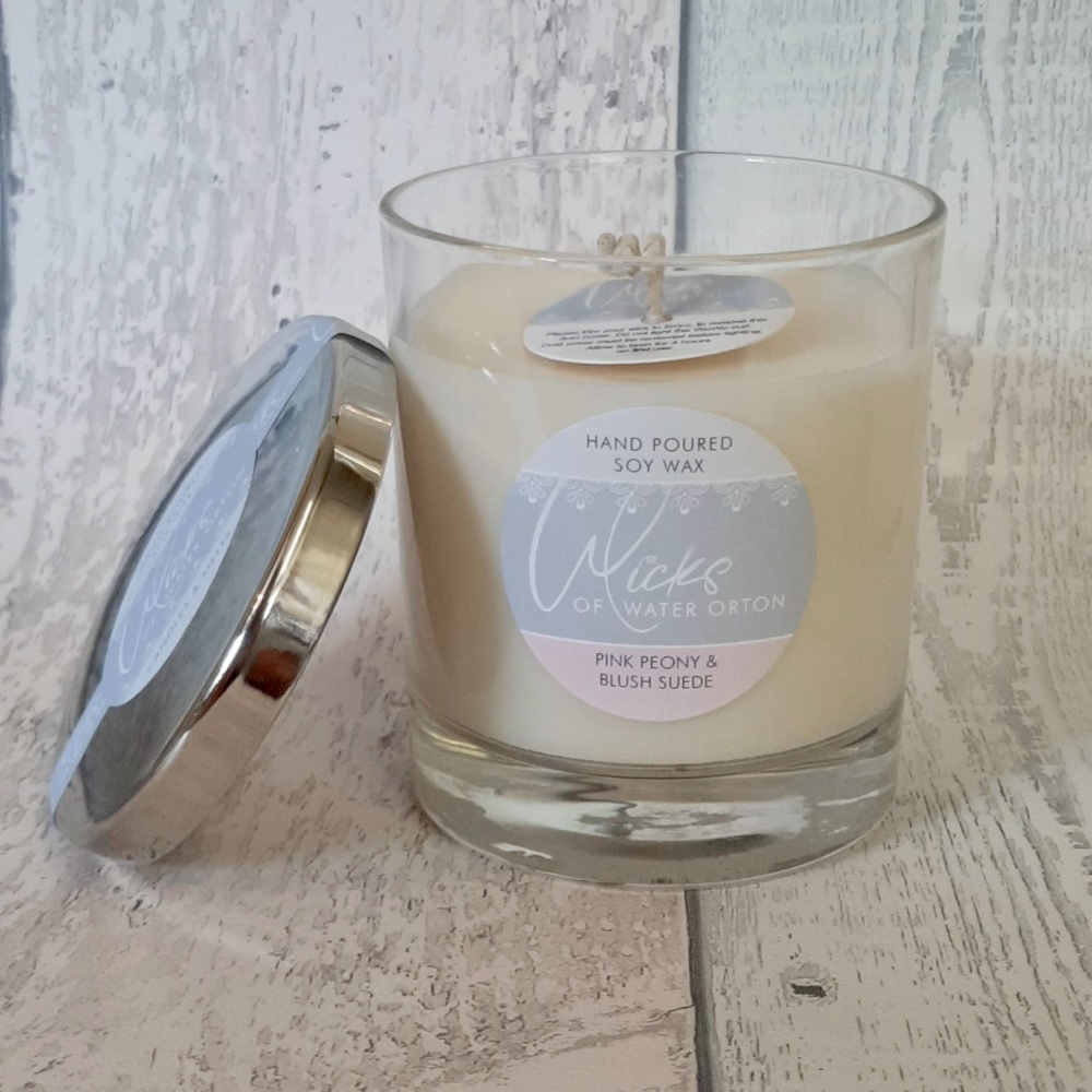 Pink Peony & Blush Suede Natural Soy Candle 200g