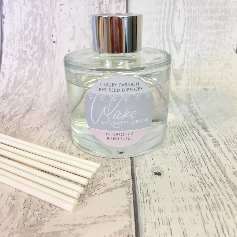 Pink Peony & Blush Suede Luxury Reed Diffuser (Paraben Free)