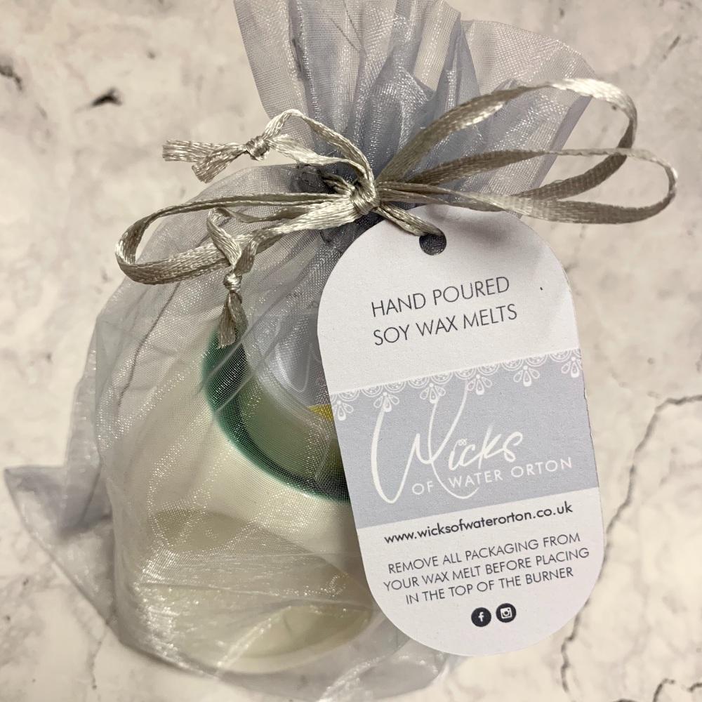 Green Topped Small Wax Burner & 1 Soy Wax Melts Gift Set