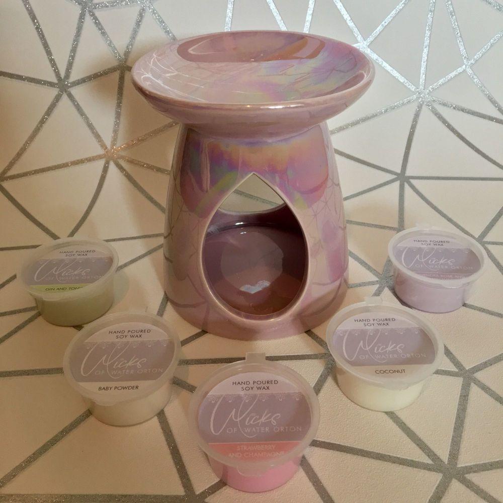 Burner Gift Set - inc a large Pink Pearlised Ceramic burner with 5 soy wax melt pots