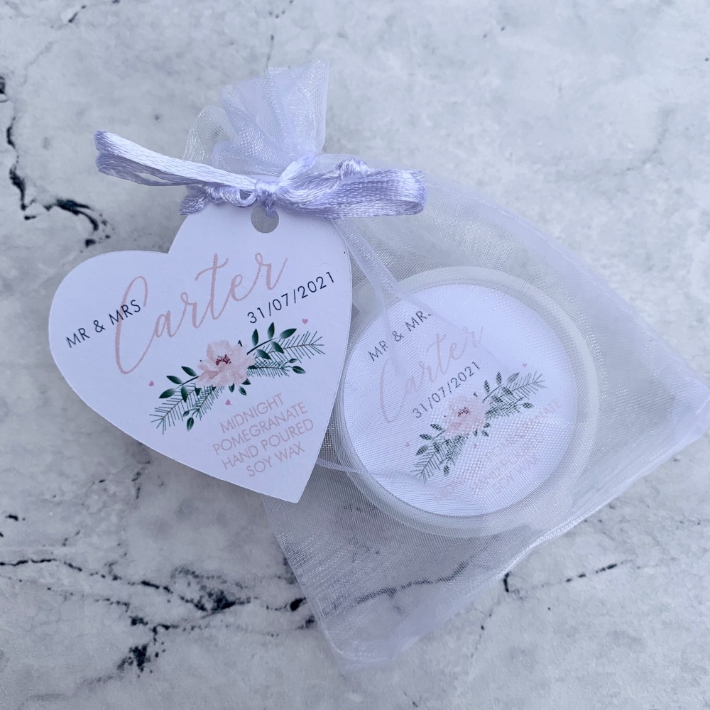 Personalised Wax Melt Wedding Favours - Design 1 - Blush & Floral