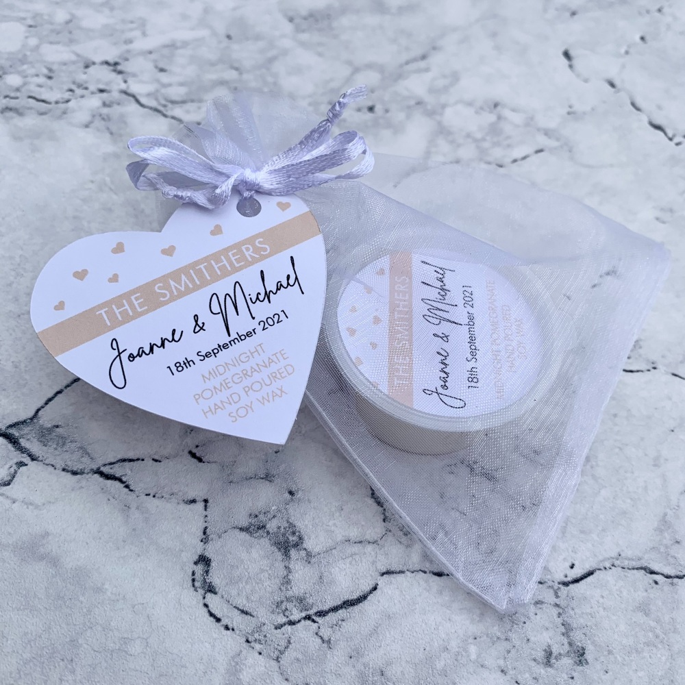 Personalised Wax Melt Wedding Favours - Design 2 - Hearts & Banner