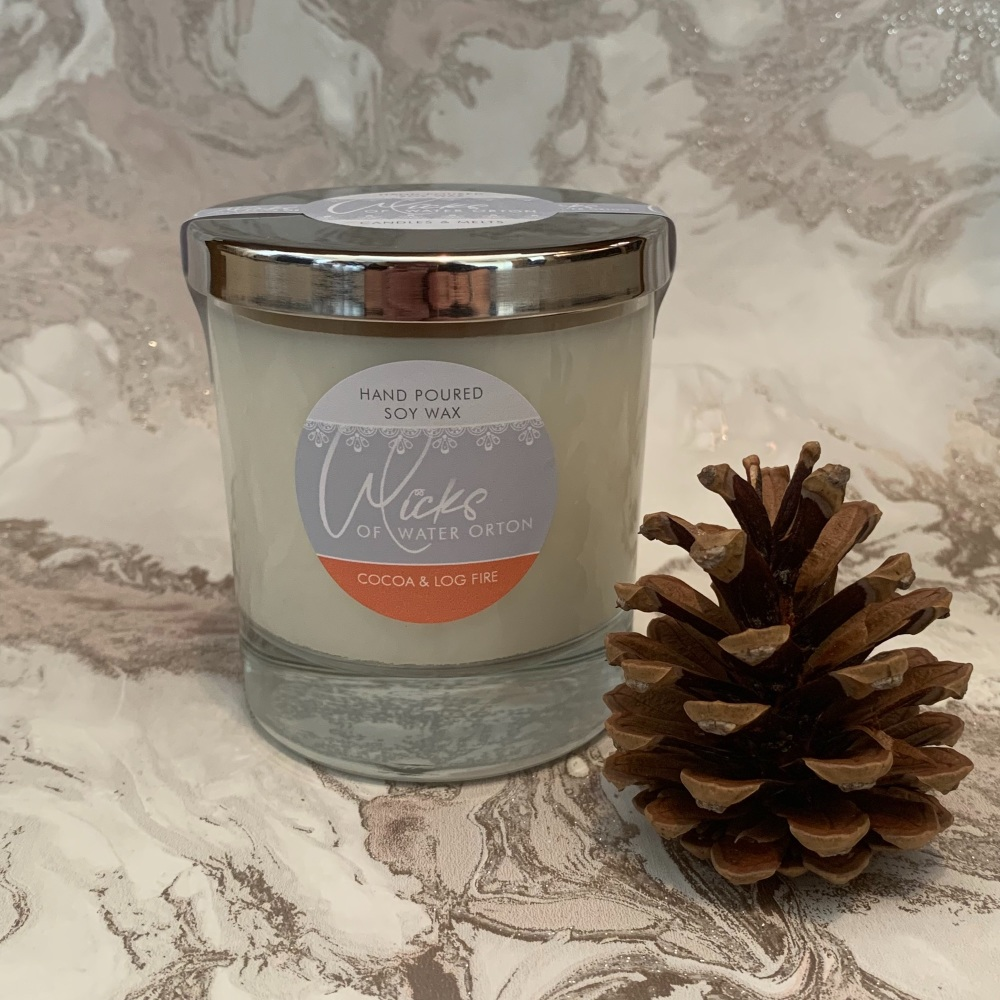 Cocoa & Log Fire Natural Soy Candle 200g
