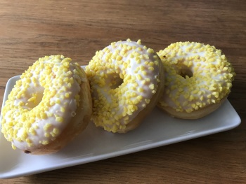 LEMON COATED RING DONUTS - TOPPED WITH SUGAR STRANDS- 3 PACK