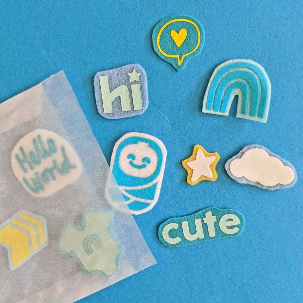 Felt Patch Set (Blue Baby: Hello World)