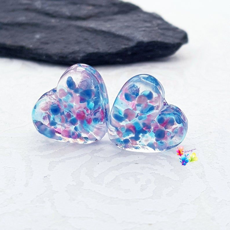Baby Shower Stained Glass  Love Heart Lampwork Bead Pair