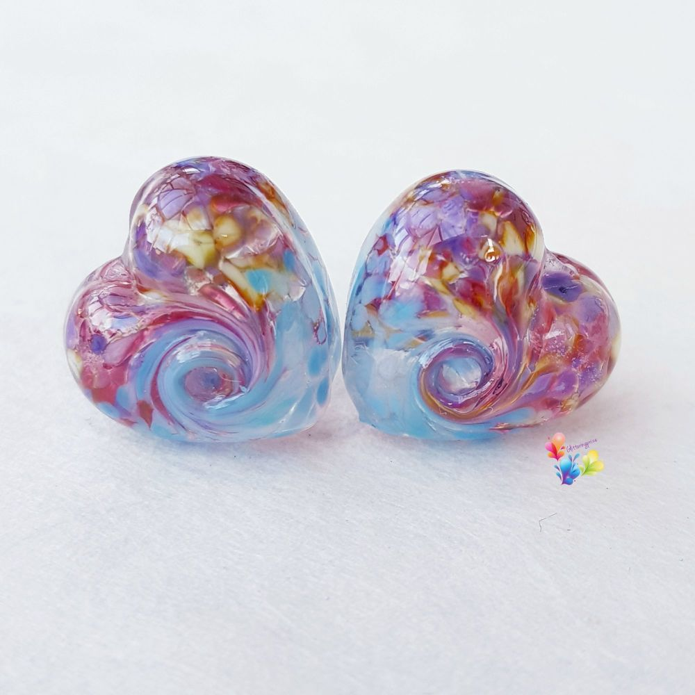 Fantasy Blue 50/50 Twist Heart Lampwork Beads
