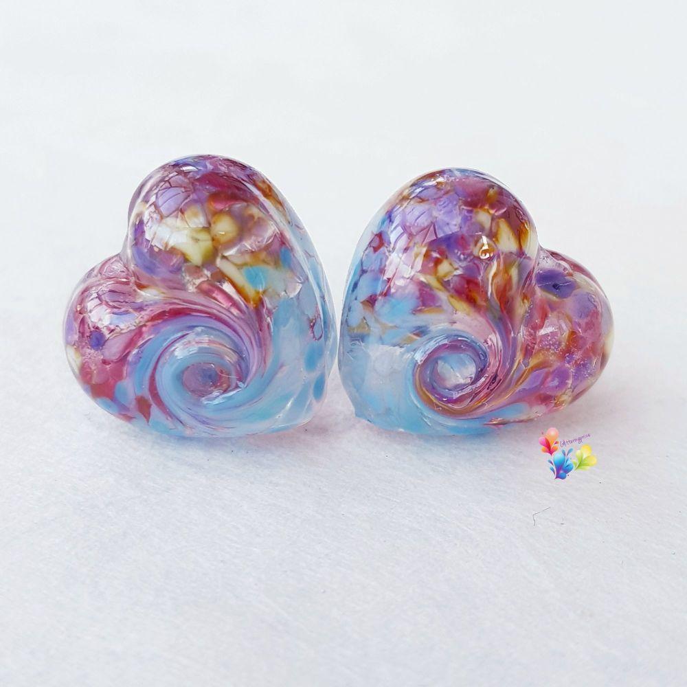 Fantasy Blue 50/50 Twist Heart Lampwork Beads
