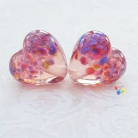Tropical Top Coral Pink Heart Glass Lampwork Beads