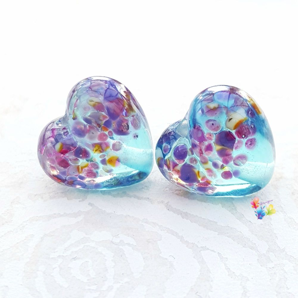 Tropical Top Aqua Heart Glass Lampwork Beads