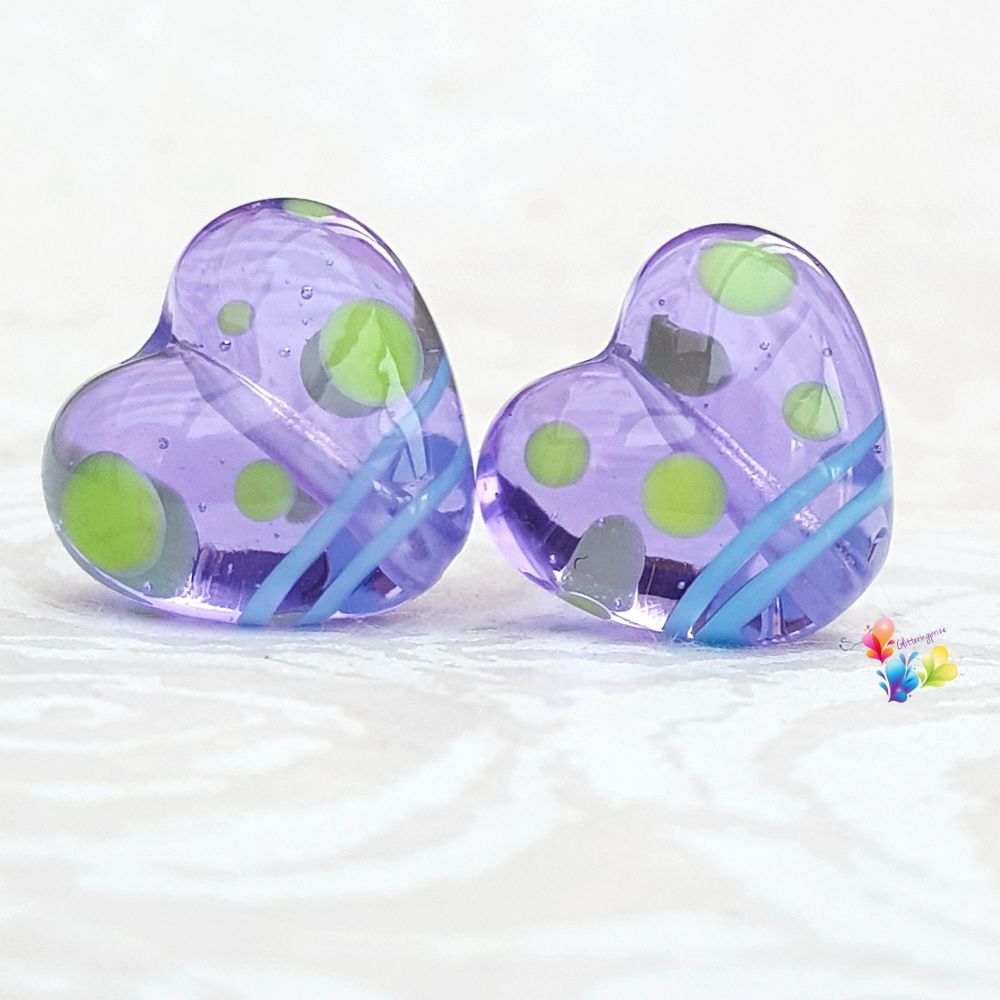 Quirky Lavender Love Heart Glass Lampwork Beads