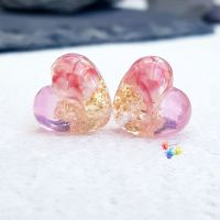 Peony Shake Patchwork Glass Heart Pair