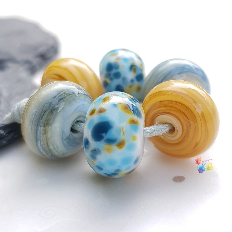 Whitby Harbour Trio Lampwork Beads