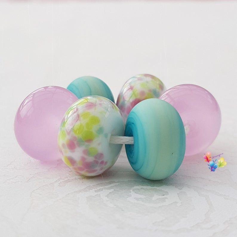 Rosey Peony Trio Lampwork Beads