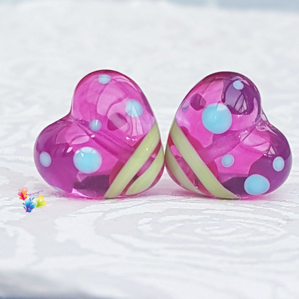 Hot Pink Juicy Colourful Heart Lampwork Beads
