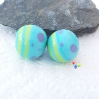 Miami Blue Round Lampwork Bead Pair