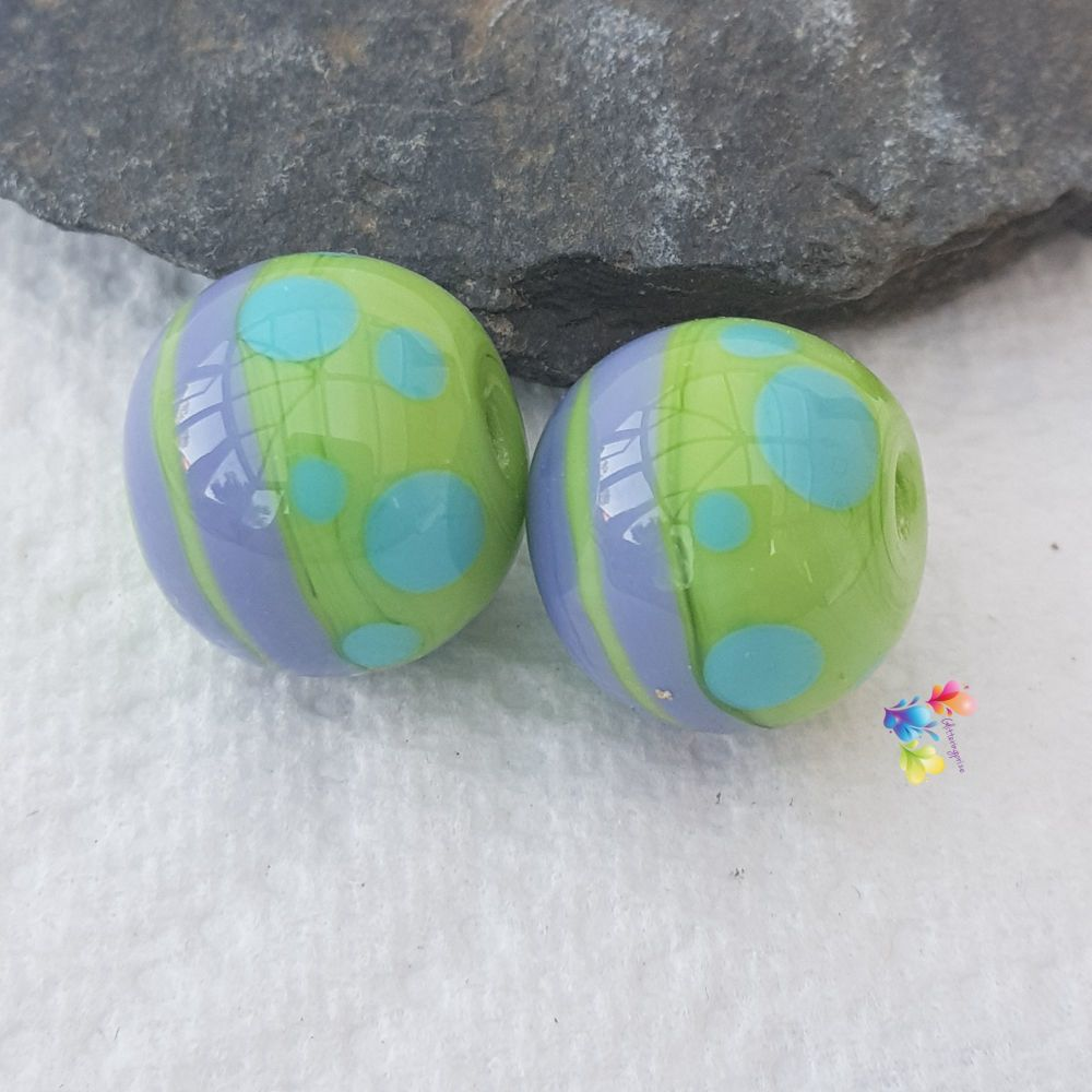 Miami Green Round Lampwork Bead Pair