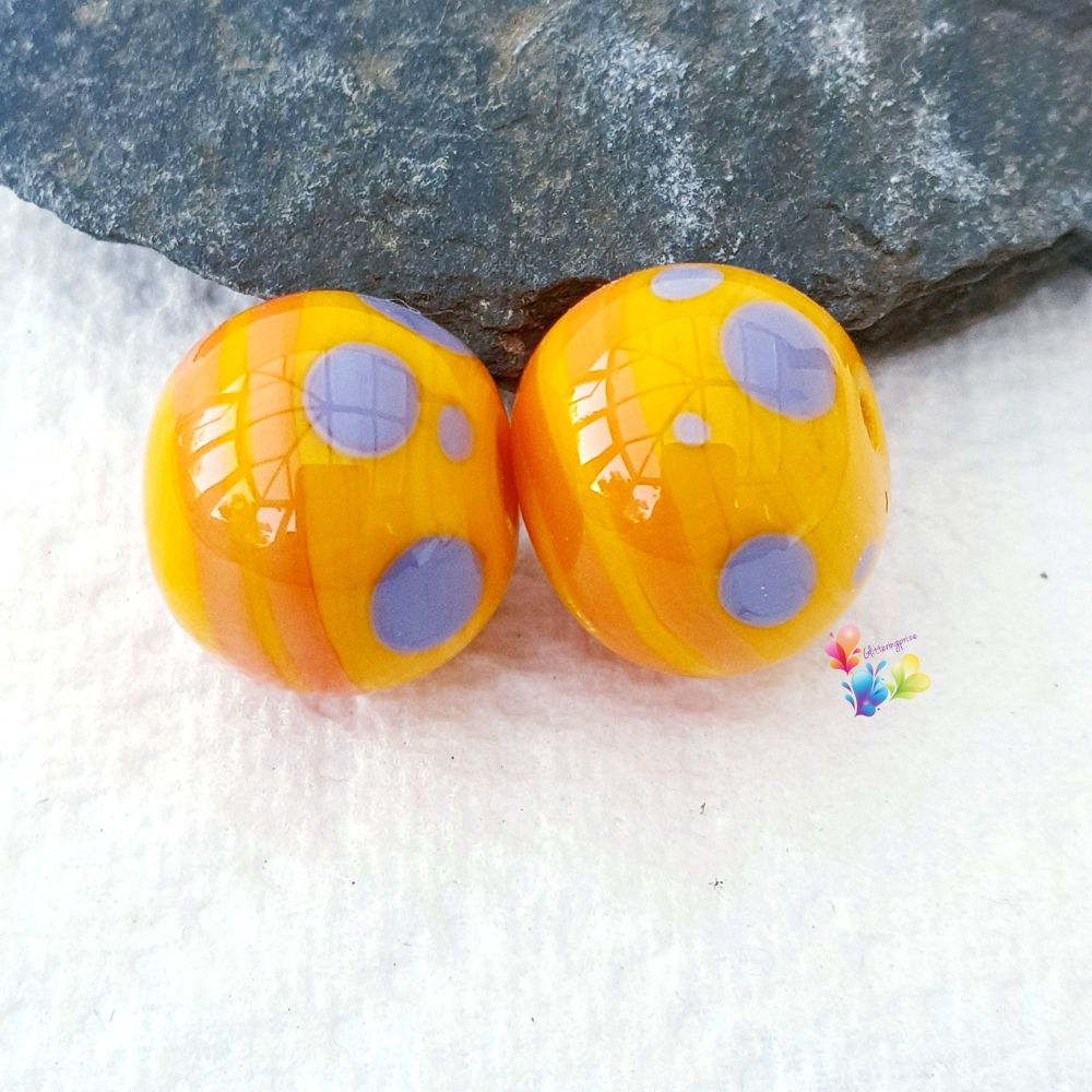 Miami Yellow Round Lampwork Bead Pair