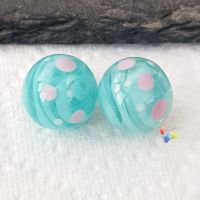 Turquoise Ribbon & Spot Round  Glass Lampwork Beads