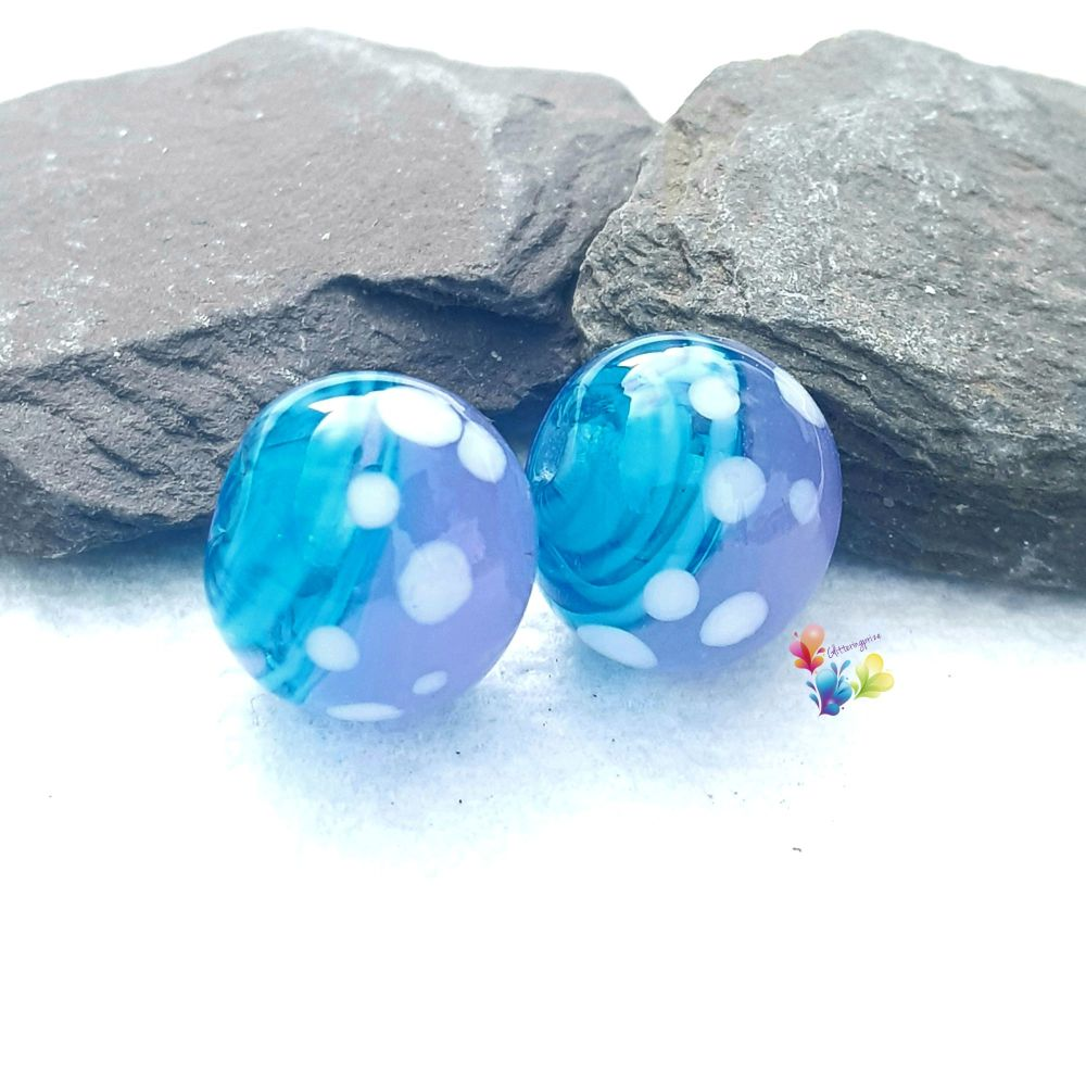 Turquoise Ribbon & Crocus  Spot Round  Glass Lampwork Beads