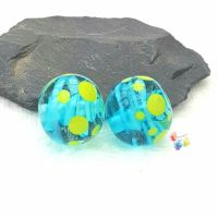 Turquoise Ribbon & Lime Green Spot Round  Glass Lampwork Beads