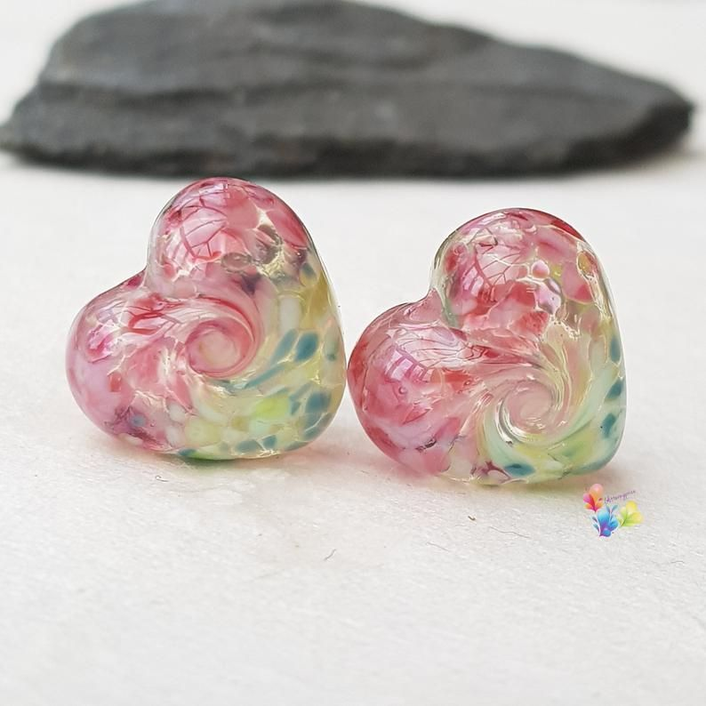 Watermelon 50/50 Twist Heart Lampwork Bead Pair