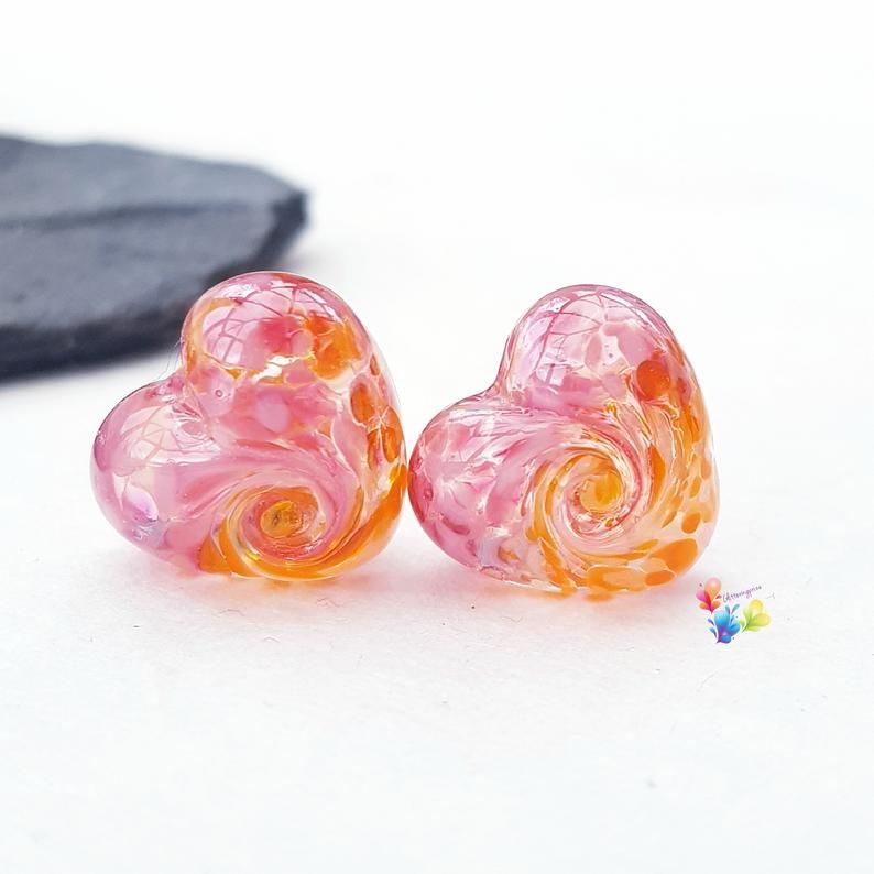 Fruit Salad 50/50 Twist Heart Lampwork Bead Pair