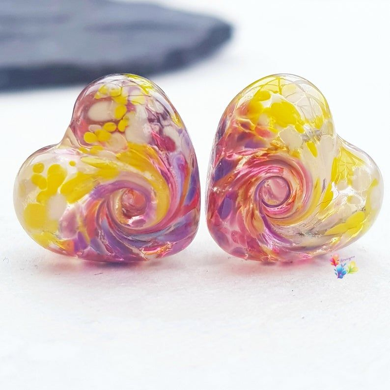 Sub Tropical 50/50 Twist Heart Lampwork Bead Pair