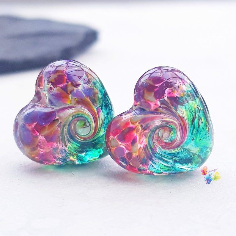 Ruby & Emerald 50/50 Twist Heart Lampwork Bead Pair