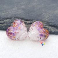 White Ribbon Fantasy Heart Lampwork Beads