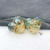 Ivory Ribbon Coastal Heart Lampwork Beads