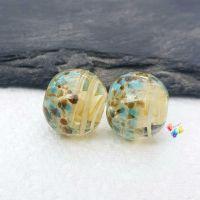 Ivory Ribbon Coastal Globe Lampwork Beads