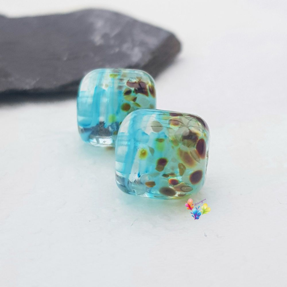 Beachcomber Ribbon Barrel Lampwork Bead Pair
