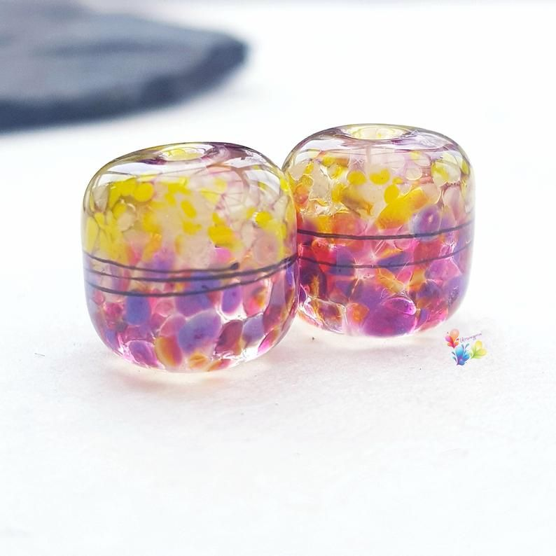 Sub Tropical 50/50 Barrel Lampwork Bead Pair