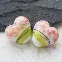 Cherry Blossom Watercolour Boho Heart Lampwork Beads