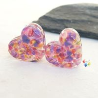 Tropical Fantasy Stained Glass Love Heart Pair