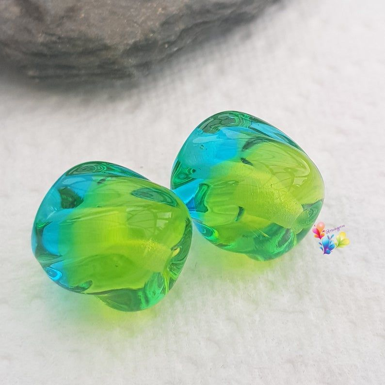 Green n Blue Ombre Twist Lampwork Bead Pair