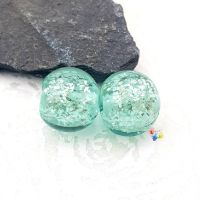 Mint Green Glitter Round Lampwork Bead Pair