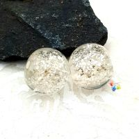 Silver Glitter Round Lampwork Bead Pair