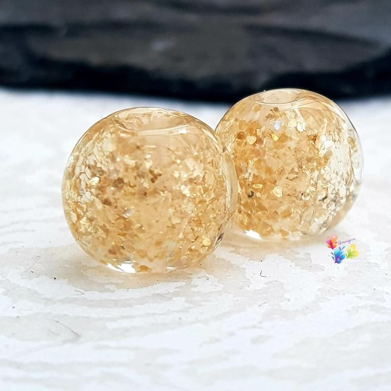 Gold Glitter Round Lampwork Bead Pair