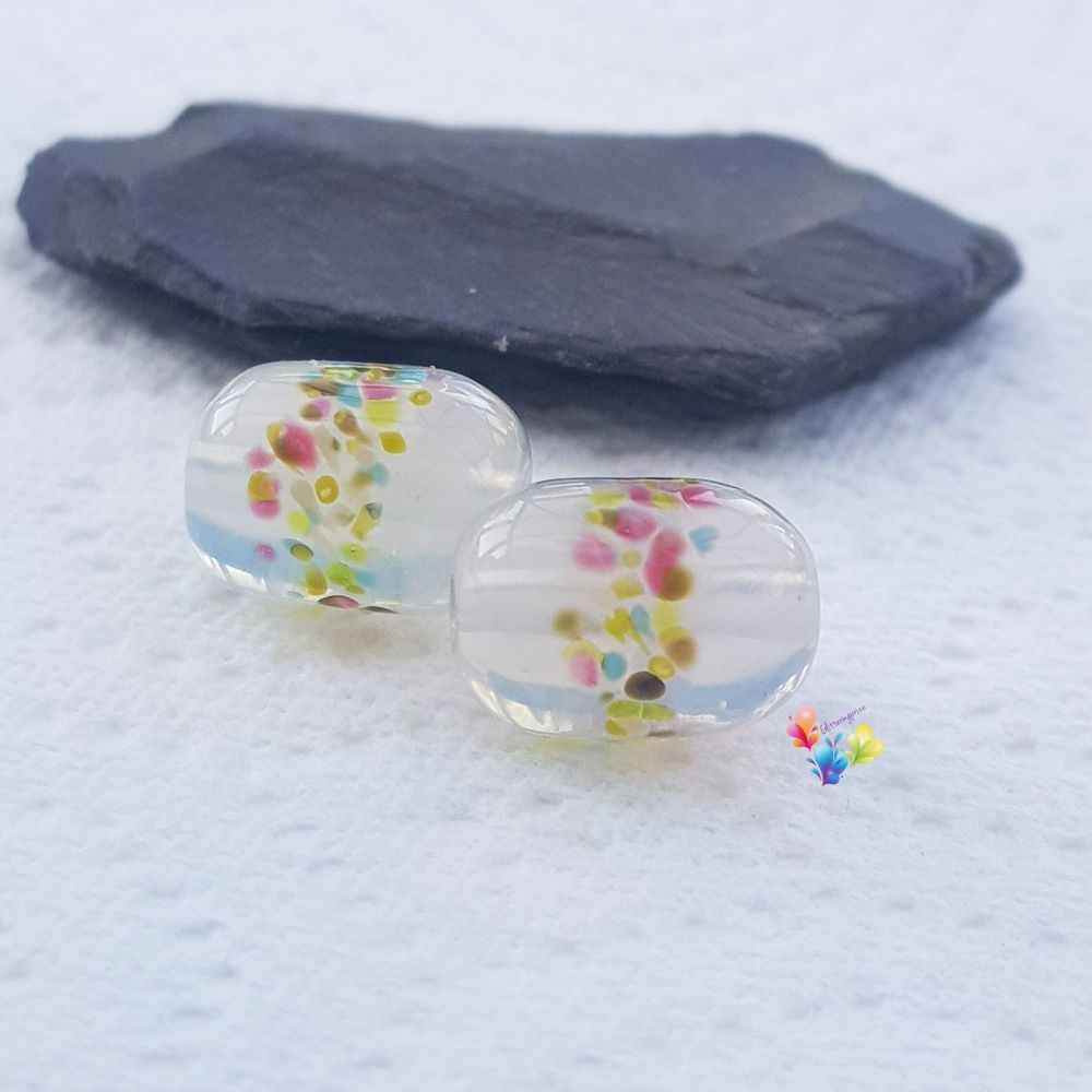 Misty Hedgerow Capsule Lampwork Bead Pair