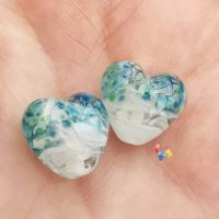 White Ribbon Zephrene Heart Lampwork Beads