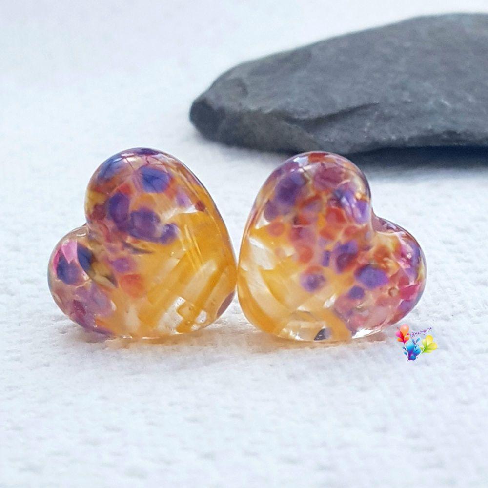 Golden Yellow Ribbon Tropical Heart Lampwork Beads