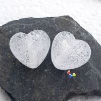 White Micro Bubble Heart Lampwork Beads