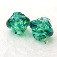 Riverdance Lampwork Bead Spinner Pair