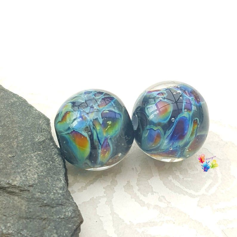 Lily's Oracle Lampwork Bead Pair